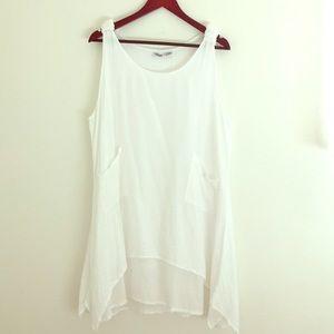 White cotton summer tunic dress